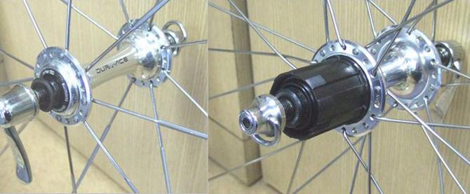 ロードバイクホイールに装着するギアとフリーボディの互換性